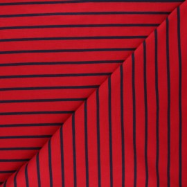Striped french terry fabric - passion red Love x 10cm