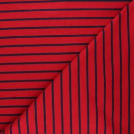 Tissu sweat léger rayé Love - rouge passion x 10cm