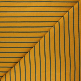 Striped french terry fabric - ochre Love x 10cm