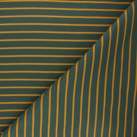 Striped french terry fabric - dark green Love x 10cm