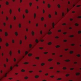 Poppy Sweatshirt fabric - burgundy Printed dots x 10cm