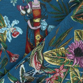 Jacquard fabric - duck blue Manaus x 10cm