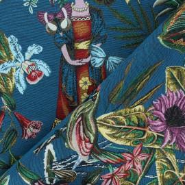 Tissu jacquard Manaus - bleu canard x 10cm