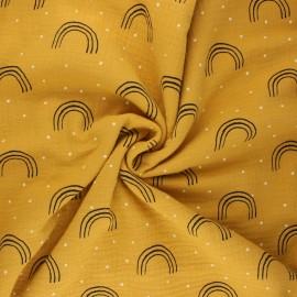Double gauze fabric - mustard yellow Minimalist rainbow x 10cm