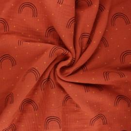 Tissu double gaze de coton Minimalist rainbow - rouille x 10cm