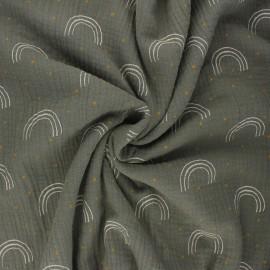 Double gauze fabric - khaki green Minimalist rainbow x 10cm