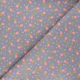 Poppy milleraies velvet fabric - grey Sweet flower x 10cm