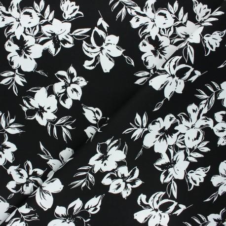 By Penelope® elastane gabardine fabric  - black Hibiscus x 10cm
