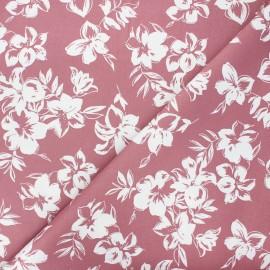 By Penelope® elastane gabardine fabric  - rosewood pink Hibiscus x 10cm