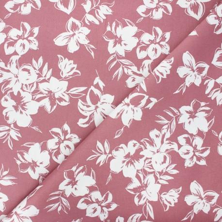 Tissu gabardine élasthanne Hibiscus by Penelope® - bois de rose x 10cm