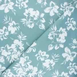 By Penelope® elastane gabardine fabric  - eucalyptus Hibiscus x 10cm