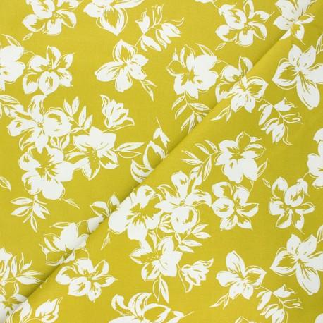 By Penelope® elastane gabardine fabric  - teal Hibiscus x 10cm