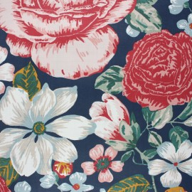 Tissu coton enduit Jardin anglais - bleu x 10cm
