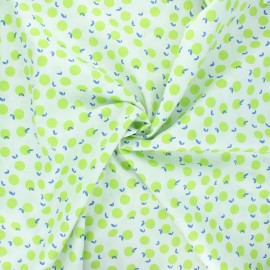 Tissu coton popeline Fruit lover - vert pomme x 10cm
