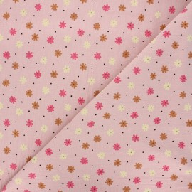Washed cotton fabric - water pink Florem x 10cm