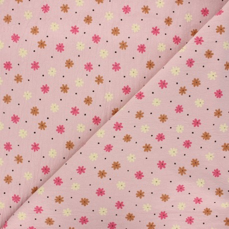 Tissu coton lavé Florem - eau de rose x 10cm
