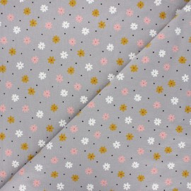 Washed cotton fabric - taupe Florem x 10cm