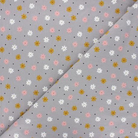 Tissu coton lavé Florem - taupe x 10cm