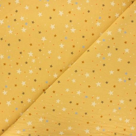 Tissu coton lavé Douces étoiles - jaune moutarde x 10cm