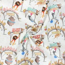 Poplin cotton fabric - white Madagascar circus x 10cm