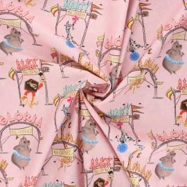 Poplin cotton fabric - pink Madagascar circus x 10cm