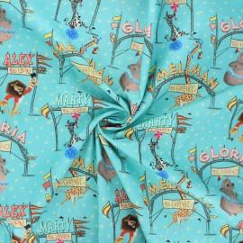 Poplin cotton fabric - turquoise Madagascar circus x 10cm