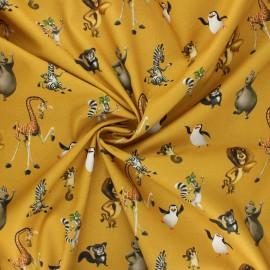 Poplin cotton fabric - mustard yellow Madagascar friends x 10cm