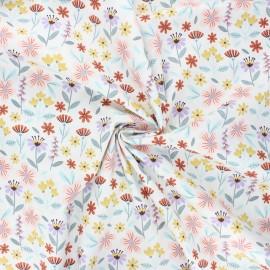 Poppy poplin cotton fabric - white Flowers B x 10cm