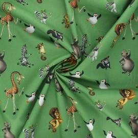 Poplin cotton fabric - green Madagascar friends x 10cm
