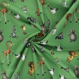 Tissu coton popeline Madagascar friends - vert x 10cm