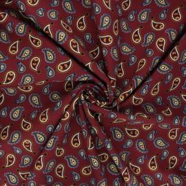 Tissu coton popeline Paisley love - acajou x 10cm