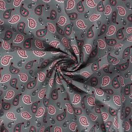 Poplin cotton fabric - grey green Paisley love x 10cm