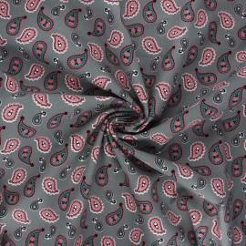 Tissu coton popeline Paisley love - vert de gris x 10cm