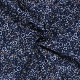 Tissu coton élasthanne Pensée - bleu nuit x 10cm