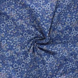 Elastane cotton fabric - blue Pensée x 10cm