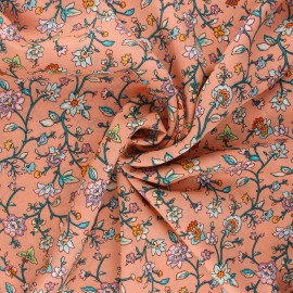 Viscose fabric - coral Garance x 10cm