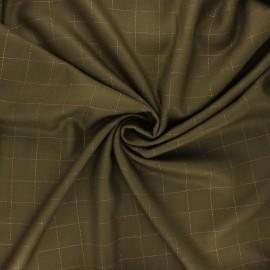 Tissu sergé de viscose Carreaux Lurex Cuivré - vert kaki x 10cm