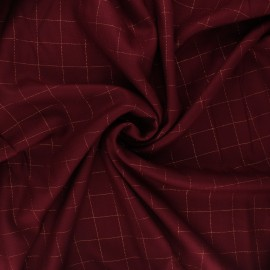 Tissu sergé de viscose Carreaux Lurex Cuivré - bordeaux x 10cm