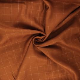 Tissu sergé de viscose Carreaux Lurex Cuivré - caramel x 10cm