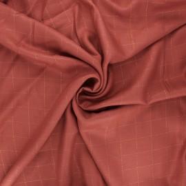 Tissu sergé de viscose Carreaux Lurex Cuivré - terracotta x 10cm