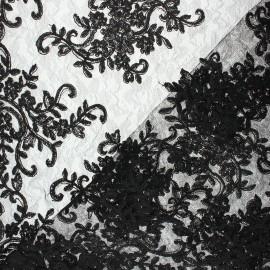 Suzanne Lace Fabric - Black x 10cm