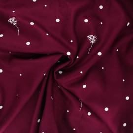 Viscose twill fabric - tayberry Polk Poppies x 10cm