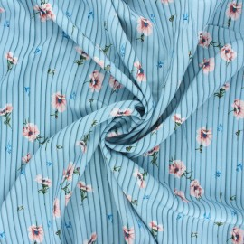 Patterned viscose fabric - light blue Sweet Elea x 10cm