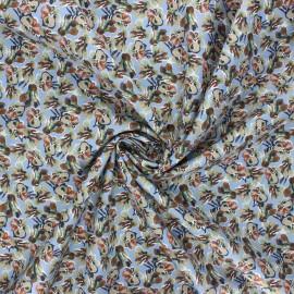 Tissu popeline de coton La Maison Victor Pansy - bleu fumée x 10cm