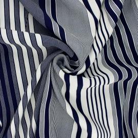 La Maison Victor viscose crepe fabric - midnight blue Stripes x 10 cm