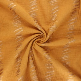 Tissu double gaze de coton Rico Design Transformation E - jaune moutarde x 10cm