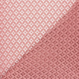 Lace fabric - old pink Flore x 10cm