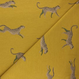 Tissu sweat léger Felidae - jaune curry x 10cm