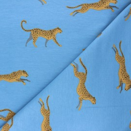 French terry fabric - swell blue Felidae x 10cm