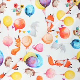 French terry fabric - white Balloon party x 10cm